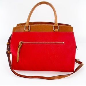 Dooney & Bourke Large Red Canvas Leather Tote